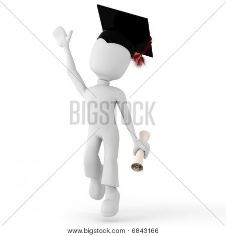 3d man college happy for graduating isolated on white