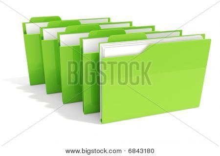 3d green dossiers isolated on white background