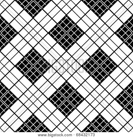 Monochrome plaid fabric background. Abstract seamless vector pattern.