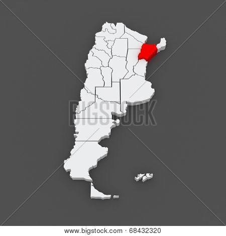 Map of Corrientes. Argentina. 3d
