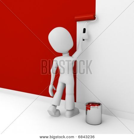 3d man painting a white wall in red