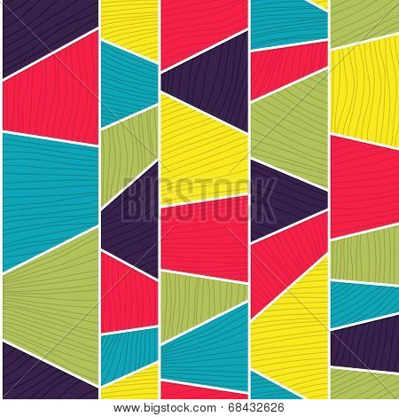 Abstract mosaic pattern with lines and hand drawn elements. Seamless vector.