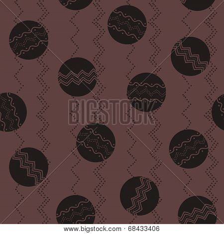 Abstract illustration with circles and hand-drawn elements. Seamless vector pattern.