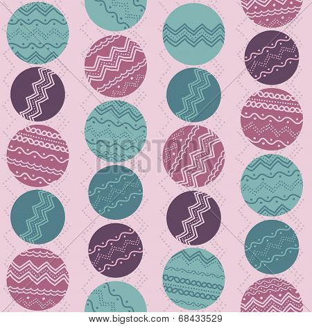 Abstract illustration with rounds and hand-drawn elements. Seamless vector pattern.