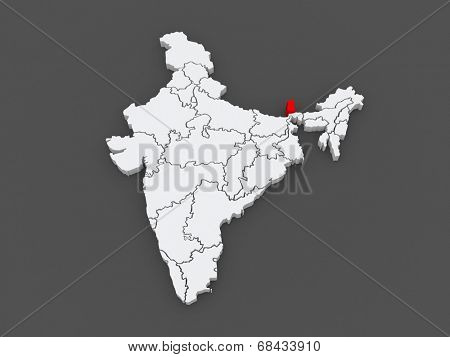 Map of Sikkim. India. 3d
