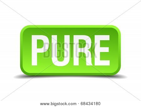 Pure Green 3D Realistic Square Isolated Button