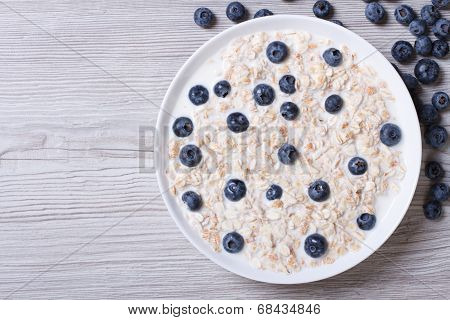 Muesli With Blueberries And Milk Top View Horizontal