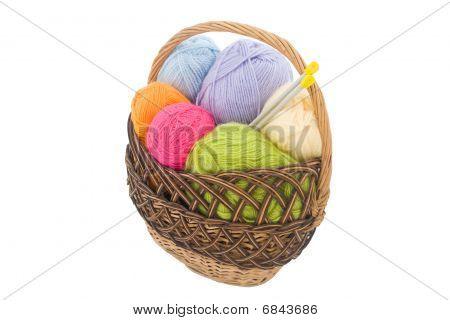 Ovillos de lana en la cesta