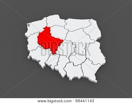 Map of Wielkopolska. Poland. 3d