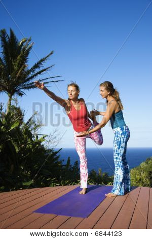 Women Doing Yoga Outdoors