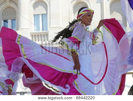 ZAGREB,CROATIA - JULY 16: Members of folk group Colombia Folklore Foundation from Santiago de Cali, Colombia during the 48th International Folklore Festival in center of Zagreb,Croatia on July 16,2014