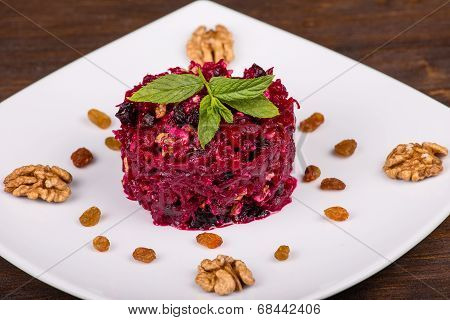 Raw Grated Beet On A Plate