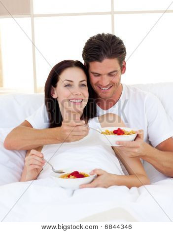 Romantic Couple Having Breakfast