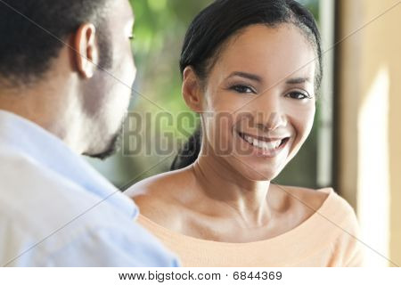 Happy African American Couple, Woman Smiling To Camera