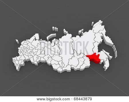 Map of the Russian Federation. Amur region. 3d