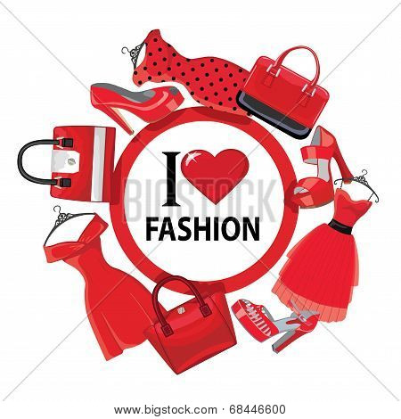 Red Fashion Women's Dresses,handbag, High-heeled Shoes.eps