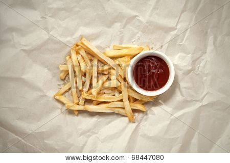 French Fries With Ketchup And Salt