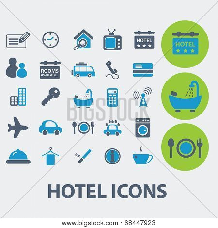 hotel, motel, apartment, booking icons set, vector
