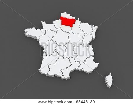 Map of Picardy. France. 3d