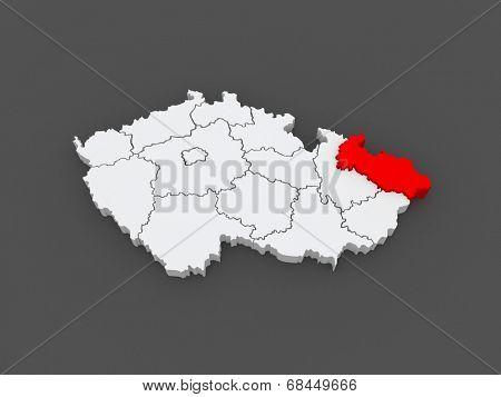 Map of Moravian. Czech Republic. 3d