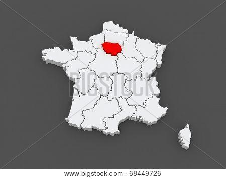 Map of Ile-de-France. France. 3d