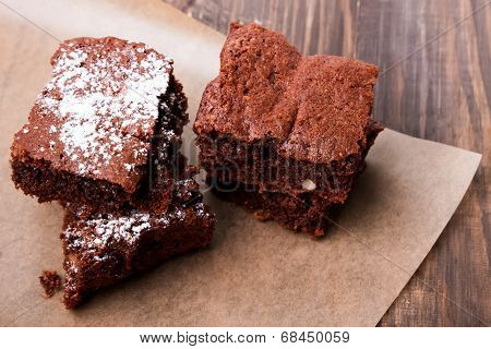 Brownies On The Wooden Table