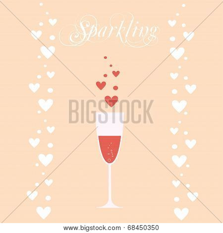 vector sparkling wineglasses with wine