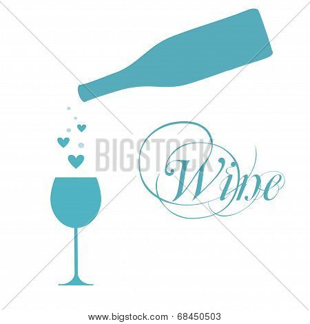 vector wine bottle with glass and sparkles