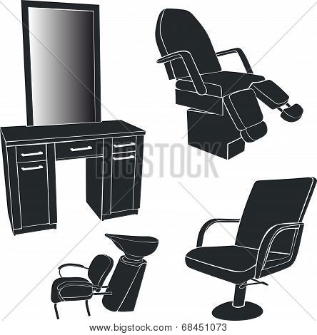 Furniture for hairdressing salons