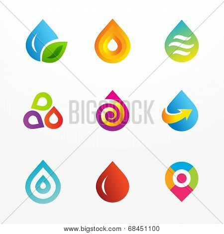 Water drop symbol logo and icons set.