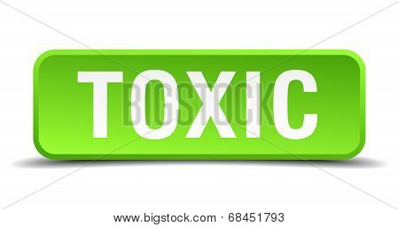 Toxic Green 3D Realistic Square Isolated Button