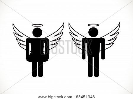 Pictogram Angel and Devil   Icon Symbol Sign