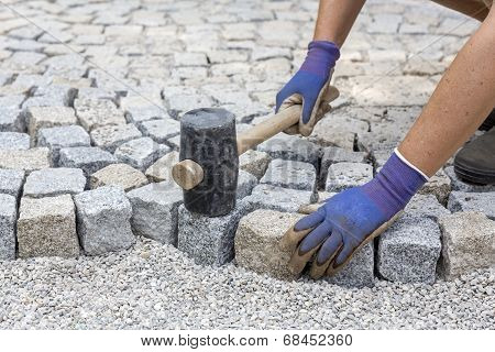 Paving works with granite stones