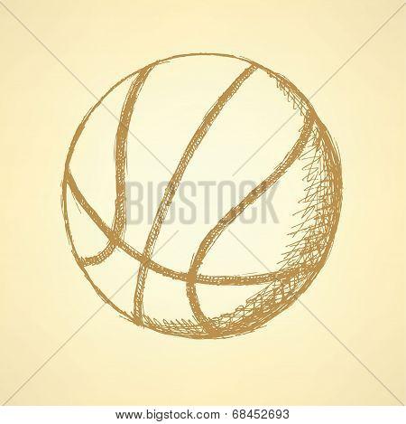 Sketch Basketball Ball, Vector Vintage Background