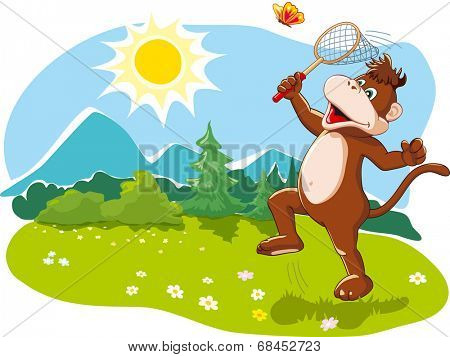 Funny cartoon monkey catching butterflies with a net, happy summer vacation, nature. Vector illustration