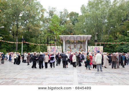 Elderly people dancing on dancefloor