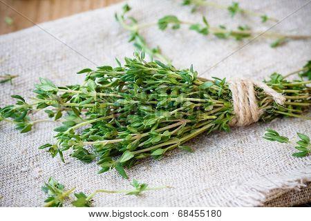 Bundle Of Fresh Thyme On Sackcloth