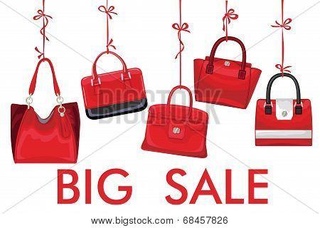 Red Fashion Women's Handbag Hang On Ribbon.big Sale