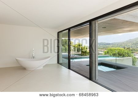 House, interior, modern architecture, empty room with bath