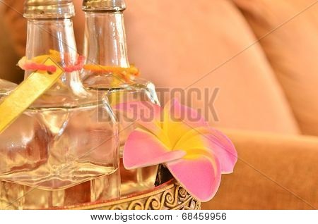 Essence Of Flower - Glass Bottle With Pink Flower - Spa, Wellness Or Homeopathy Background