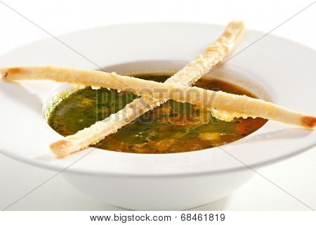 Minestrone Soup with Pesto Sauce