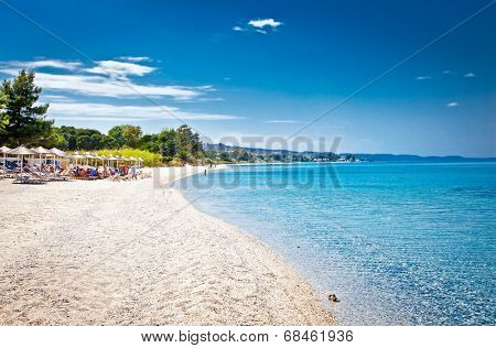 Beautiful Paradiso sand beach near Akra Glarokavos on Kassandra peninsula, Hakidiki, Greece.