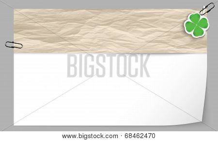 Text Box With Texture Of Paper And Cloverleaf