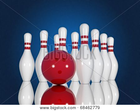 Bowling Pins And Ball On A Blue Background