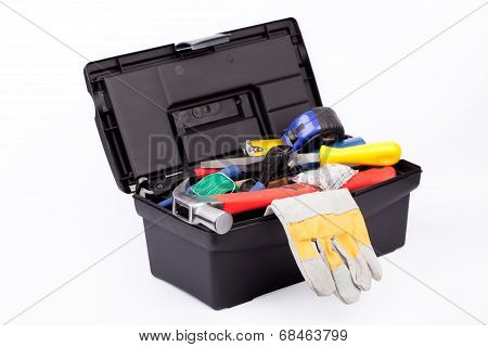 Toolbox with gloves.