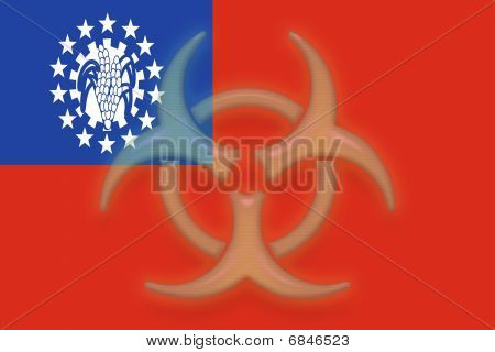 Flag Of Myanmar Health Warning