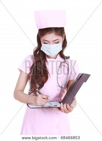 Female Nurse Writting Medical Report