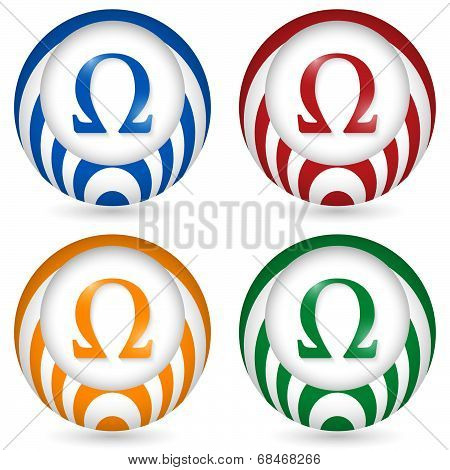 Set Of Four Icon With Omega Symbol