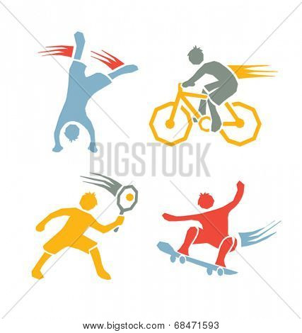 active sports boys icons vector set 3