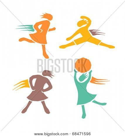 active sports girls icons vector set 4